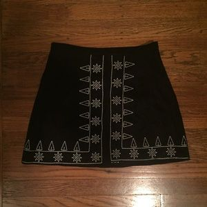LF Evie Black Suede Skirt w/ White Embroidery